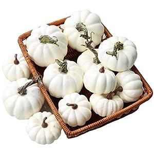 gresorth 12 pcs fake white pumpkins artificial harvest vegetable halloween fall home party kitchen decoration silk flower arrangements