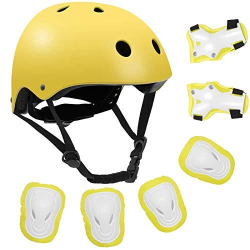 Kids Bike Helmet Toddler Helmet 3-10 Years Boys Girls Protective Gear Set Adjustable Skateboard Helmet, Cycling Scooter Rollerblading Helmet with Knee Pads Elbow Pads Wrist , CPSC Certified (Yellow)