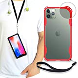 New iPhone 11 Pro Max Clear Slim Case with Wrist Strap & Lanyard | Best Rugged TPU Bumper Case | Strong Loop Hole Attachments for Leash, Tether Holder etc (Red, iPhone 11 Pro Max)