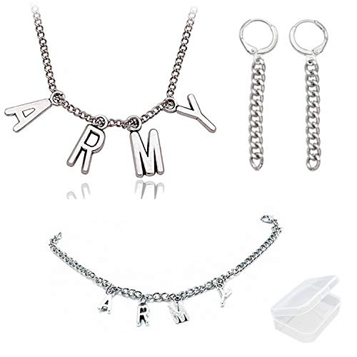 PPX Collar y Pulsera Pendientes con el Nombre de los Miembros de BTS y 2 Piezas de Aretes para Fanáticos, con Caja Transparente