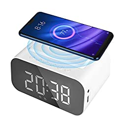 WIOR Alarm Clock Bluetooth Speaker, Wireless Charging Digital Alarm Clock, Smart Alarm Clock Radio with USB Port, LED Display, AUX Input, Hands-Free Call for Bedroom Bedside Office Hotel (White)