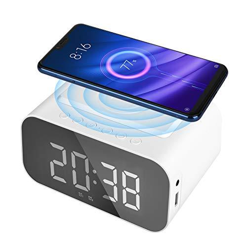 Achort Digitaler Wecker mit kabelloser Qi-Ladestation, Digital Helligkeit/Snooze/LED-Anzeige/Wireless Charger Kompatibel mit IOS & Android für Schlafzimmer, Nacht Kinder und Büro - Weiß