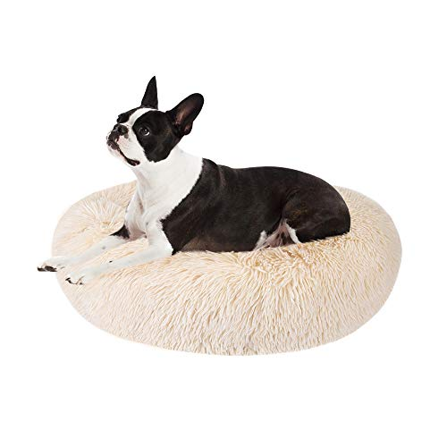 AutoWT Dog Bed, Donut Dog Bed Cat Beds Cuddler Nest Soft Plush Dog Cat Cushion with Cozy Sponge Non-Slip Bottom for Small Medium Pets Snooze Sleeping Indoor, Machine Washable (M - 23 inch, Khaki)