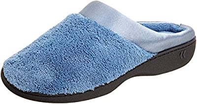 ISOTONER Women's Microterry Pillowstep Satin Cuff Clog Slippers (Denim, Small / 6.5-7 B(M) US)