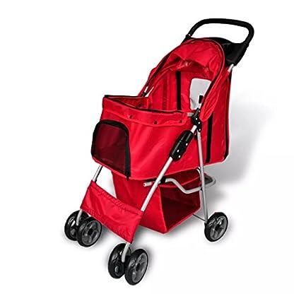 vidaXL Folding Pet Stroller Red Dog Cat Travel Carrier Transport Trolley Pram 1