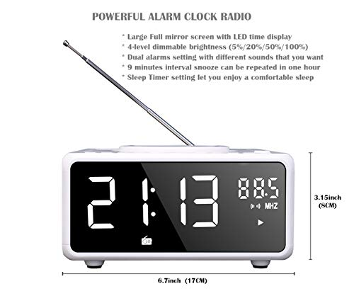 G Keni CD Player Boombox, Alarm Clock Radio, Bluetooth Speaker, QI Wireless Charger, Digital FM Radio, Portable MP3/USB Music Player, Dual Alarm, Snooze & Sleep Timer, Dimmable Mirror LED Display
