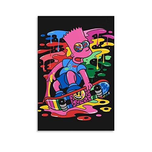 FUSHANG Animation Color Painting Homer Jay Simpson Bart, Skateboard Art Poster Poster Decorative Painting Canvas Wall Art Living Room Posters Bedroom Painting 08x12inch(20x30cm)