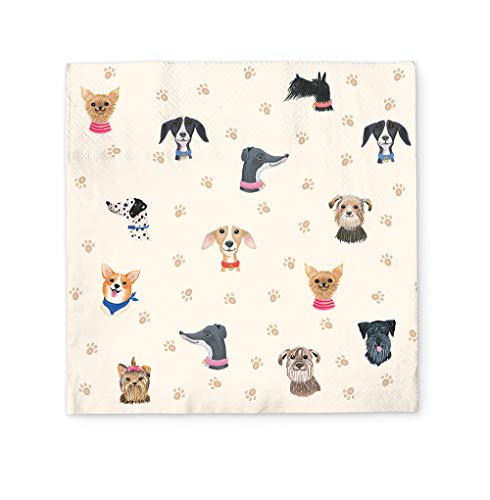 Paper Lunch Napkins by Studio Oh! - Doggone Cute - Pack of 40 - Full-Color Art - 3-Ply Strong & Durable, Easy Cleanup - for Everyday & All Occasions