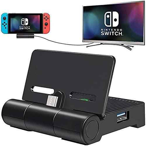 ECHTPower TV Docking Station für Switch Faltbare Type C Switch Dock Ladestation mit USB 3.0/2.0 Port Tragbarer Ladeständer für TV/Tisch Modus Mini Switch HDMI Adapter für Alltag und Reisen