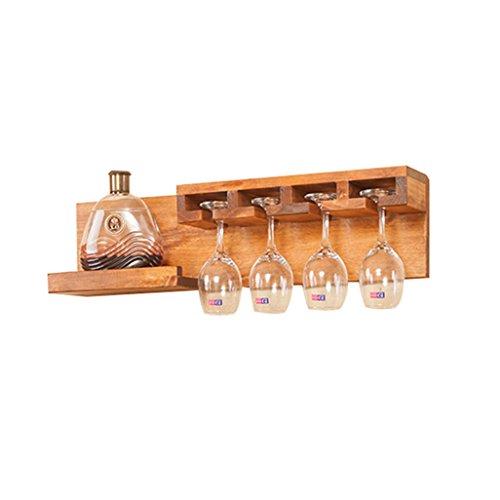 Wine Shelf Wall Mount Pine Wood Unit Floating Shelves Wine Bottle Rack | Shelf Holder Wine Goblet Holder Hanging Wine Glass Shelf Storage Countertop for Restaurants, Bars, Daily Home 70x13x18cm