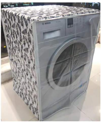 Front Loading Washing Machine Cover Suitable for LG, Samsung, IFB, Whirlpool, Haier, Voltas with Size 50cmsX60cmsX83cms ONLY. 5.5 Kg, 6 Kg, 6.5 Kg Only(Black & Half White)