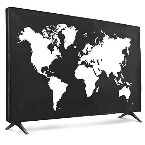 """kwmobile Funda para Monitor 55"""" TV - Cubierta Protectora Mapa del Mundo en Blanco/Negro"""