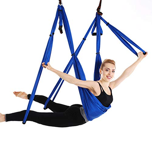 WOERD Premium Aerial Silk Yoga Swing with Mounting Kit Hardware, Aerial Trapeze, Sling, Inversion Tool, Inversion Exercises, Improved Flexibility Core Strengthblue