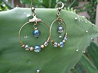 CRISTALES EN CRISTALES DE BRONCE ORO AZUL TRANSPARENTE pendientes colgantes con anillo