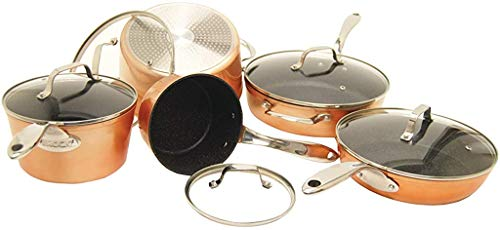 THE ROCK by Starfrit 030910-001-0000 10-Piece Cookware Set, Copper, Black, 26.7in x...