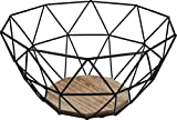 Gusta Obstkorb aus schwarzem Metall mit Holzboden