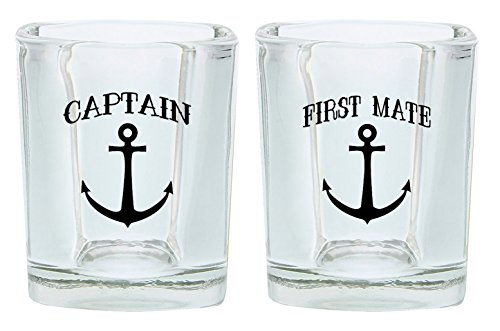 Couples Shot Glasses Captain First Mate Nautical Anchor Wedding 2-Pack Square Shot Glass Set Black