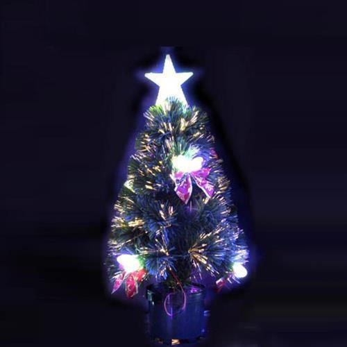 Albero Di Natale 60 Cm Sintetico Artificiale Fibre Ottiche Led Stella Pigne Gt 839833