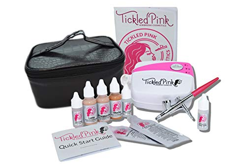 Tickled Pink Cosmetic Airbrush Makeup Kit with 89% Organic Water Based Makeup Infused with Organic...