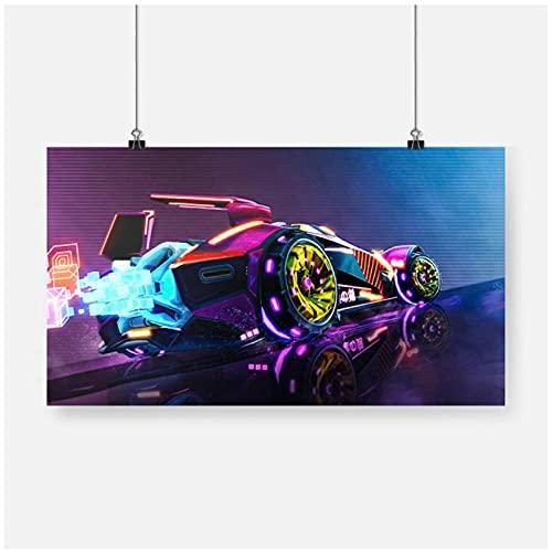 FUXUERUI Vaporwave Neon Car Rocket League cuadro de arte de pared lienzo pintura cartel impreso para decoración del hogar del dormitorio 40x60cm sin marco