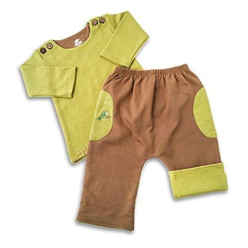 Mama Ocllo - Cadeau de Bébé (Pantalon + Pull), Couleur Vert/Marron, Pima Coton, Steinnuss-Knöpfe, Perroquet, Bio, Vegan, Fair - Vert/Marron, 4-7 Monate