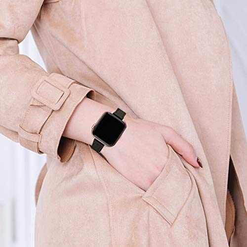 STIROLL Slim Leather Bands Compatible with Apple Watch Band 38mm 40mm 42mm 44mm, Top Grain Leather Watch Thin Wristband for iWatch Series 5   /4/3/2/1 (Black with Rose Gold, 38mm/40mm)