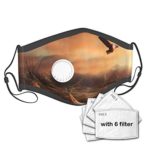 CONICIXI Tribal Western Theme Native American Tribes Natural Landscape Tent Wilderness Sunset Hill Eagle Wolf Unisex Washable Mouth Sleeve with Filter Anti-Dust Reusable Mouth Guard-Include 6 Filters