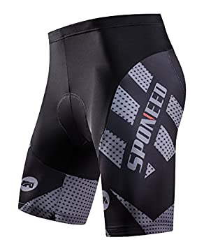 sponeed Men s Bike Shorts Padded Race Fit Bicycle Bottoms Cycling Short Racing Fit US Medium Grey