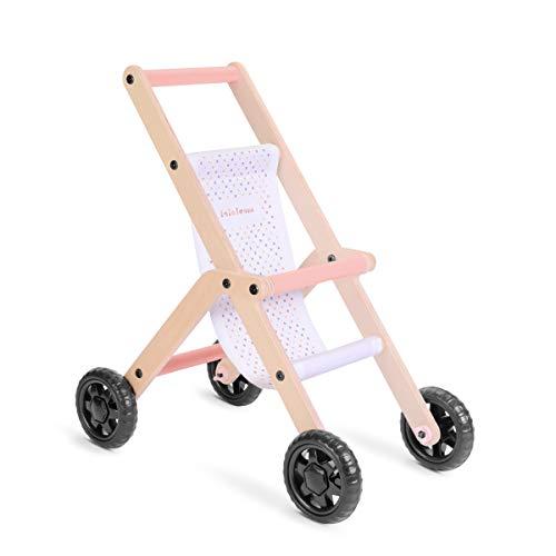 Lalaloom BUBBLE BUGGY - Andador para bebe de madera natural y tela (correpasillos, carrito con ruedas, juguete multifuncional, caminador para niños), 48x30x54 cm