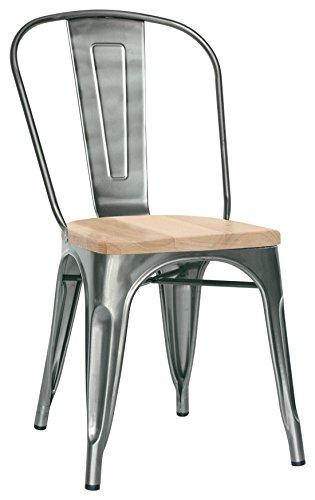 Brianza Outlet Rianna Design industriële stoel, metaal, grijs, 36 x 36 x 85 cm
