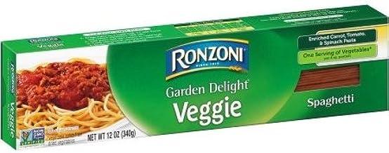 Ronzoni Garden Delight Veggie Spaghetti - Enriched Carrot, Tomato & Spinach Pasta 12 oz. (Pack of 2)