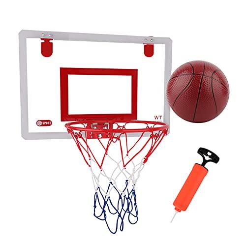 fuguzhu Juego de minicanasta de baloncesto para interiores y exteriores, con borde de acero, incluye pelotas de baloncesto y una bomba de mano
