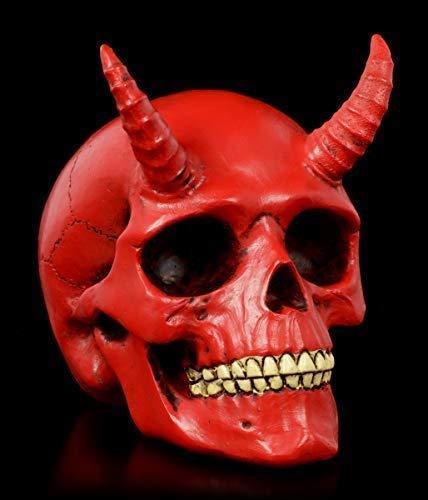 Figuren Shop GmbH Gothic-Teufels-Totenkopf mit Hörner - Roter Dämon | Fantasy-Skull, handbemalt, H 9 cm