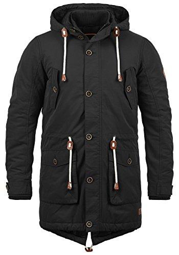 Blend Caesar Herren Winter Jacke Parka Mantel Lange Winterjacke gefüttert mit Stehkragen und Kapuze, Größe:M, Farbe:Black (70155)