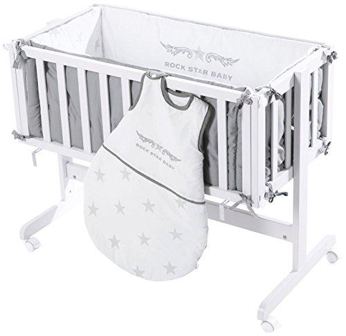 roba Berceau cododo 'Room & Cradle', bois laqué en blanc, utilisable comme cododo et comme berceau avec roulettes, matelas inclus, avec tour de lit et gigoteuse 70cm