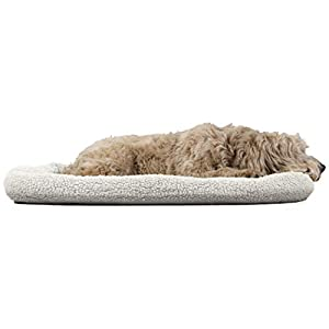 Furhaven Pet Dog Bed Kennel Pad – Faux Lambswool and Sherpa Crate or Kennel Mat Bolster Pet Bed for Dogs and Cats, Cream, Extra Large