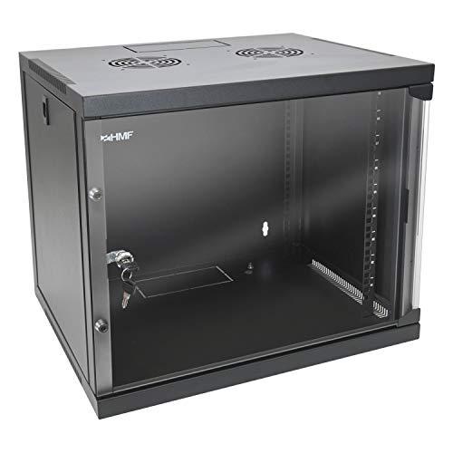 HMF 65409-02 Netzwerkschrank/Serverschrank 19 Zoll | 9 HE | 450 mm Tiefe | Voll Montiert | Glastür | Schwarz