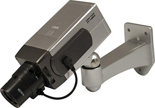 Pavo 8041787 Dummy Attrappe Überwachungskamera-Kamera mit Bewegungsmelder und Blink LED