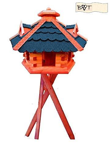 XXL große Gartendeko aus Holz, große Vogelvilla Vögel komplett mit Ständer, Vogelhaus, Gartendeko, große Größen, auch mit vogelhausständer und Silo, BLAU blaugrau graues Dach