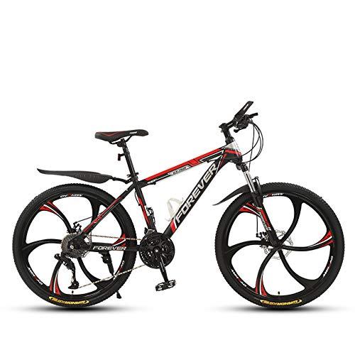 WLWLEO Bicicleta de montaña para Hombre de 26 Pulgadas Bicicleta de montaña con suspensión Delantera MTB con Asiento Ajustable Bicicleta de Carretera Que Absorbe los Golpes,D,26' 30 Speed