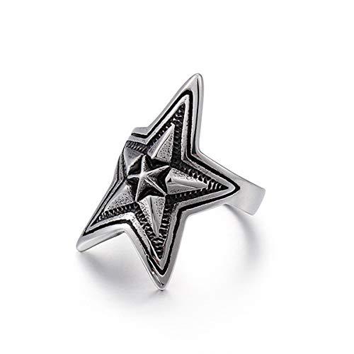 Mailizhong Personality Vintage Pentagram Titanium Steel Ring Men's Punk Cast Jewelry, Size V