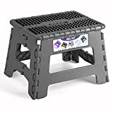 Delxo Folding Step Stool,Non-Slip Stool 9 inch Height Premium Heavy Duty Foldable Stool for Kids,Kitchen Garden Bathroom Stepping Stool 1 Pack in Grey,2021 Upgrade Dotted Texture