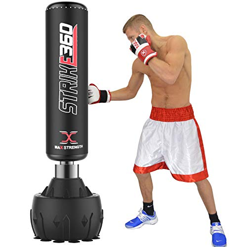 MAXSTRENGTH 6FT Free Standing Boxing Punch Bag kickboxing Training Heavy punching MMA Martial Arts with Strong Suction Base Dummy Equipment (Black Strike 360 6ft)