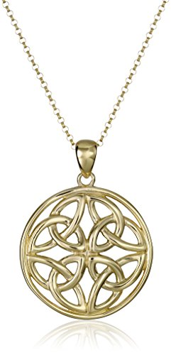 Amazon Collection 18k Yellow Gold Plated Sterling Silver Celtic Triquetra Trinity Knot Medallion Pendant Necklace, 18'