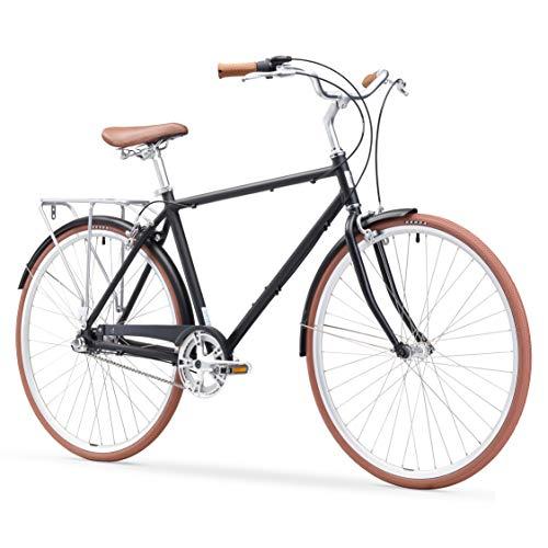 "sixthreezero Ride In The Park Men's 3-Speed Touring City Bike, 700x32c Wheels, Matte Black, 18""/One Size"