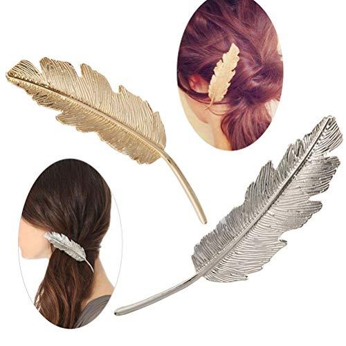 GOUPPER Leaf Shaped Haar Clip Pin Claw Haarspeldjes Hoofddeksels Haaraccessoires voor Vrouwen Meisjes, Zilver en Goud, Pack van 2