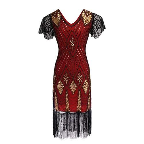 Go First 1920er Jahre Flapper Kleid Lange Fransen Gatsby Kleid Roaring 20er Jahre Pailletten Perlen Kleid Vintage Art-Deco-Kleid (Color : Rot, Size : X-Large)
