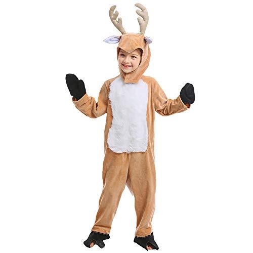 Doxrmuru Kids Christmas Reindeer Costume Boy Girl Animal Onesies Pajamas for Xmas 6-7 Years Brown