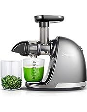 AMZCHEF Extracteur de Jus de Fruits et Légumes Sans BPA Slow Juicer Presse à Froid Machine avec moteur silencieux/tasse à jus/brosse de nettoyage/adapté à tous les Fruits et Légumes (Gris)