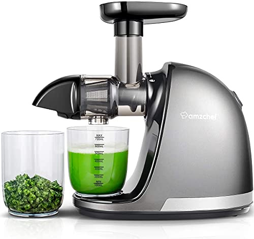 AMZCHEF Extracteur de Jus de Fruits et Légumes Slow Juicer Presse à Froid Machine avec moteur silencieux/tasse à jus/brosse de nettoyage/adapté à tous les Fruits et Légumes (Gris)